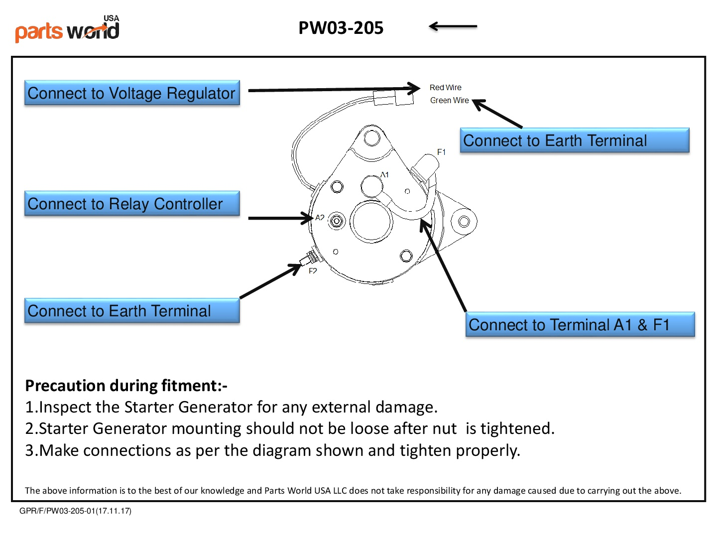 Starter Generator Installation Diagram for Yamaha Golf Carts